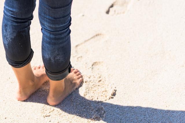 砂浜でウォーキング
